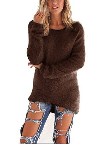 ISASSY Chic Haut Femme Manches Longues Blouse Pull Pull-over Top Chaud Pour Automne Hiver – Marron – L: FR40(EU40): Tweet Spécifications:…