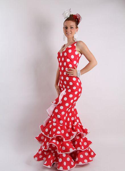 Trajes de gitana Oferta Coral Rojo con lunares blancos, talle bajo con subida lateral con tirantes, http://www.elrocio.es/41-trajes-de-flamenca-baratos