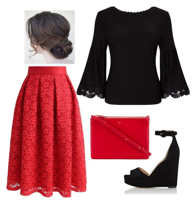 """Red + Black"" by ohraee019 on Polyvore featuring Paul Andrew, Chicwish, Somerset by Alice Temperley and CÉLINE"
