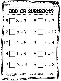 Choose an operation - add or subtract - differentiated worksheets
