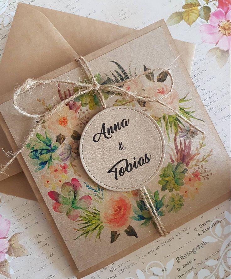 10x Einladung Hochzeit, Vintage Hochzeitseinladung, Hochzeitseinladungen Blumenkranz Kraftpapier Jute Boho Druck und Umschlag