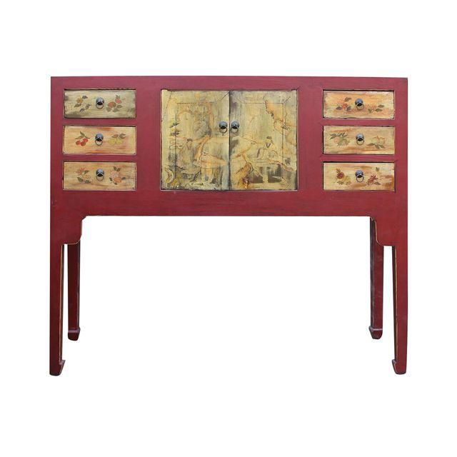 Image of Chinese Oriental Red Console Table