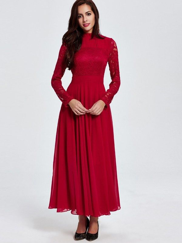 9117adea055 Lace Maxi Prom Dress with Long Sleeve - RED L