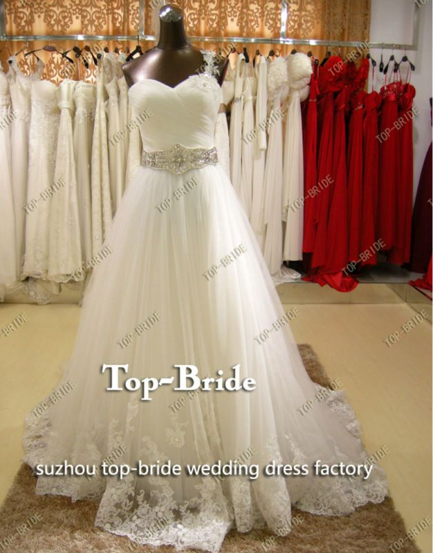 real work crystal sash wedding dress