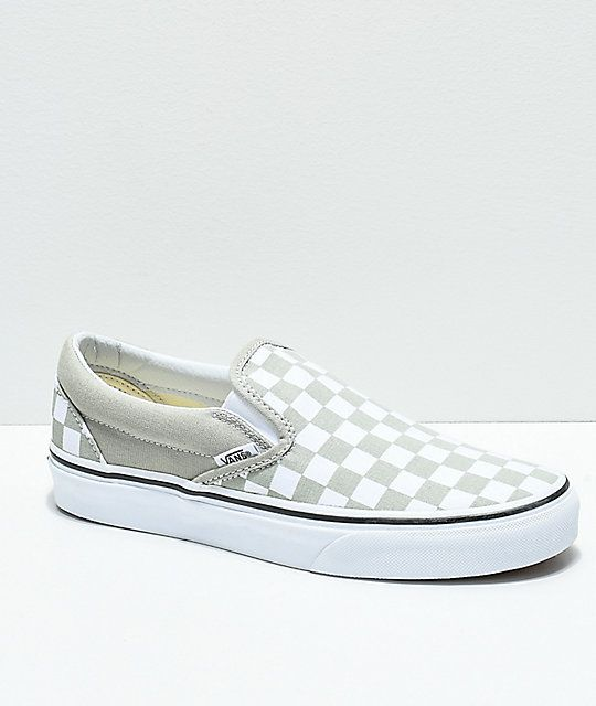 88a9851a88 Vans Slip-On Desert Sage   True White Checkerboard Skate Shoes in ...