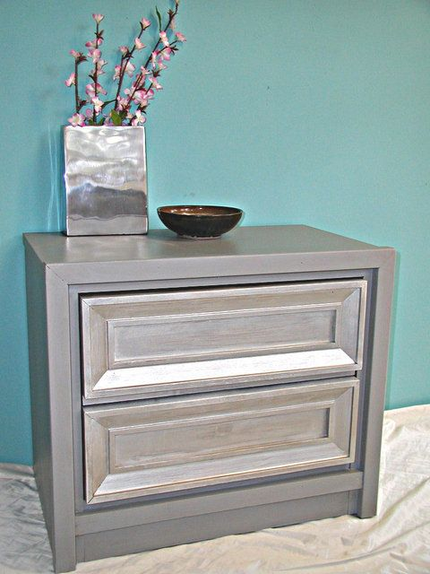 Night stand painted silver metallic
