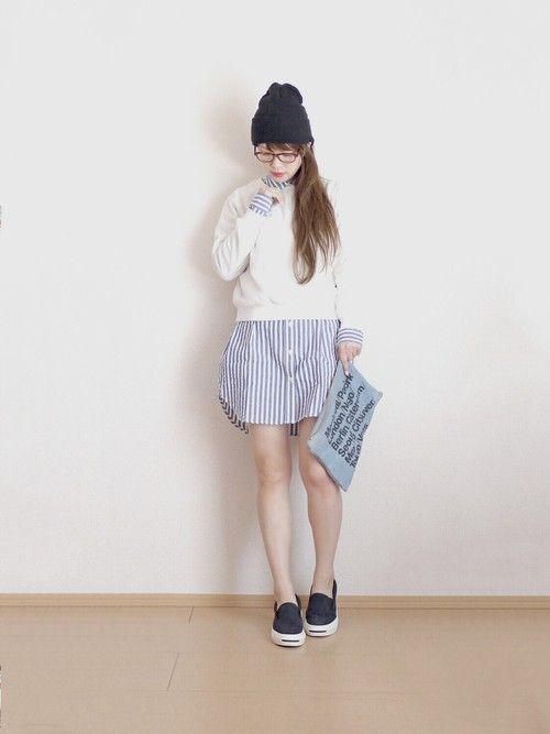 一枚でもかわいいけどニットと合わせるとさらにキュート♡甘タイプのガーリッシュ系のコーデ♡スタイル・ファッションのアイデア☆