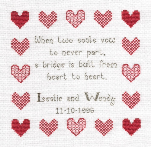 When Two Souls Wedding Sampler Cross Stitch Kit-Ideal gift | eBay