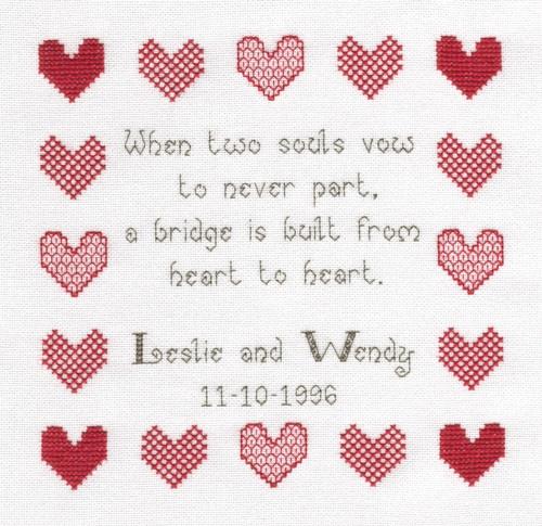 When Two Souls Wedding Sampler Cross Stitch Kit-Ideal gift | eBay