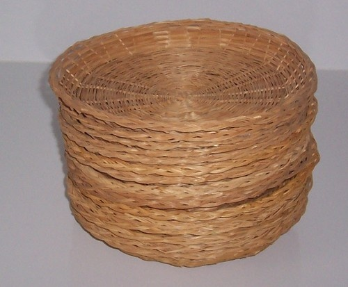 Wicker Bamboo Rattan Picnic Paper Plate Holders Reusable