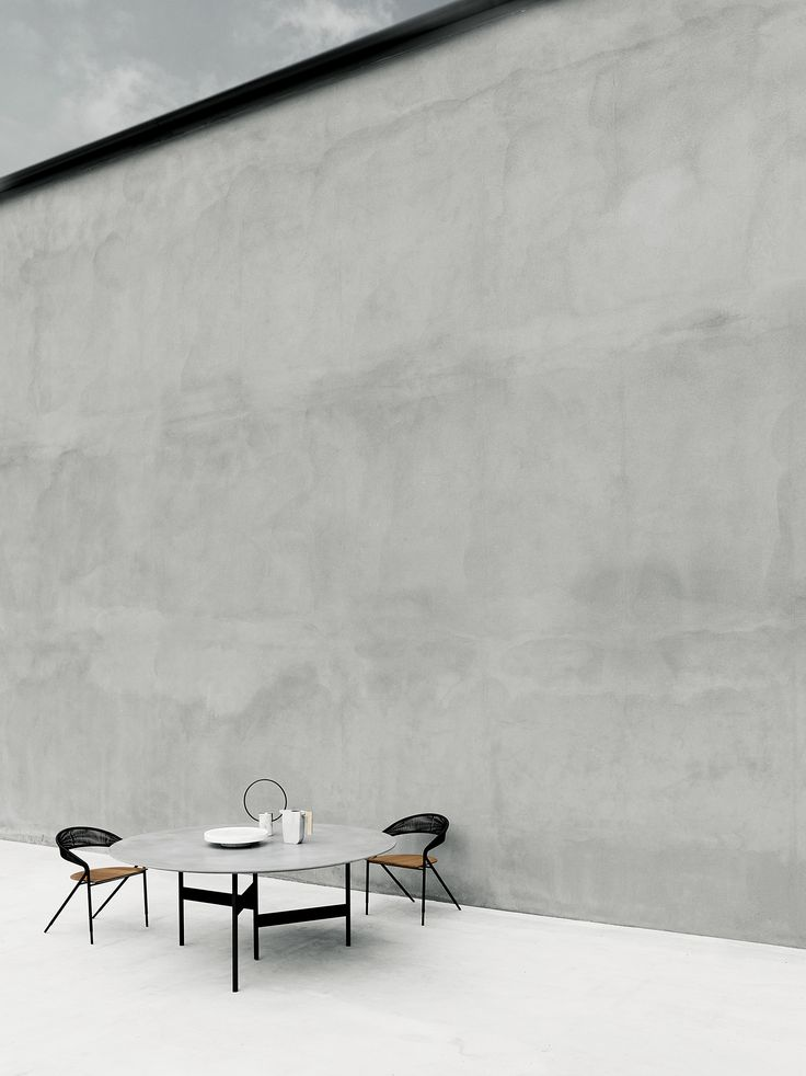 Notes table design Massimo Mariani concrete top, George's chair outdoor version design David Lopez Quincoces