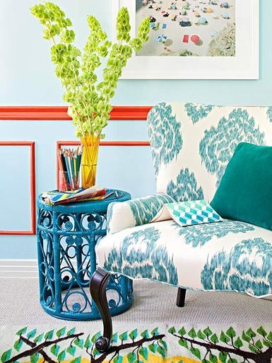 love the infusion of orangey coral and light turquoise.  May do this in my dining room some day when wainscoting needs a paint job