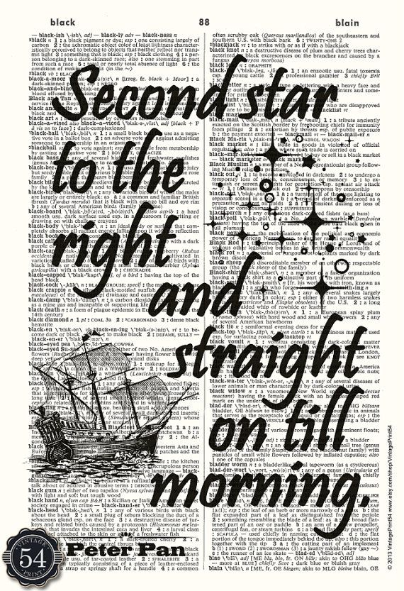 Vintage Dictionary Art Print, Quote, Peter Pan, Second Star to the Right, Upcycl…