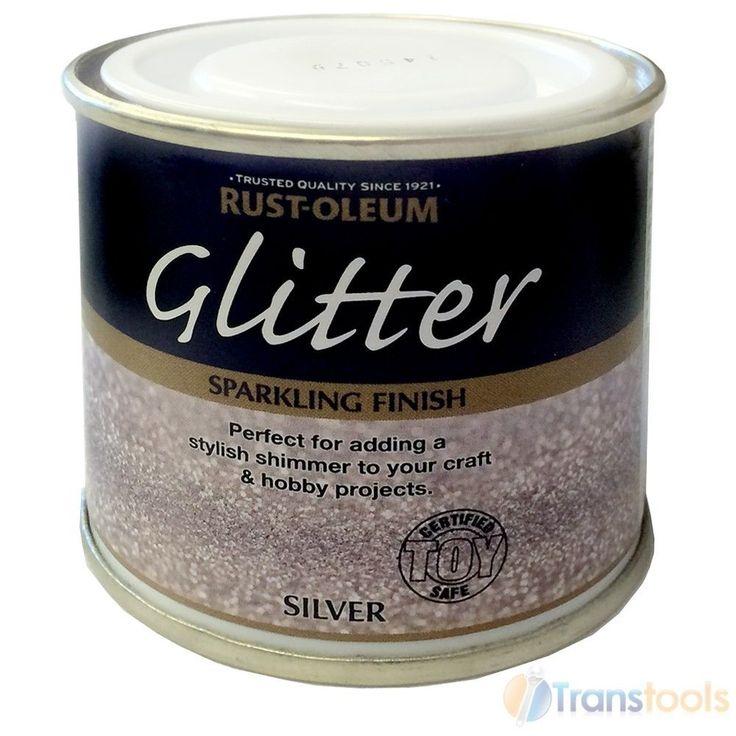 Rust-Oleum Glitter Brush Paint Silver Sparkling Finish 125ml Toy Safe Hobbycraft