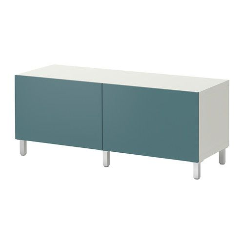 BESTÅ Storage combination with doors - white/gray-turquoise - IKEA $90