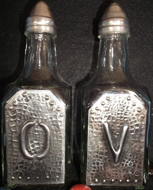 Glass Olive Oil and Vinegar glass Bottle Set  - Handcrafted Pewter Art | bidorbuy.co.za