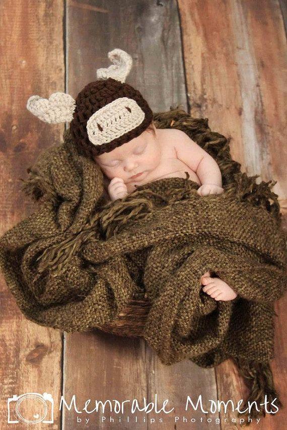 Moose Hat- moose photo prop- newborn moose hat- crochet moose hat- kids moose hat- moose beanie- adult moose beanie- moose photograpy prop
