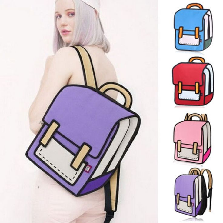 Creative 3D Stereoscopic Cartoon Nylon Backpack Schoolbag Purple  #men #women  #bags #fashion