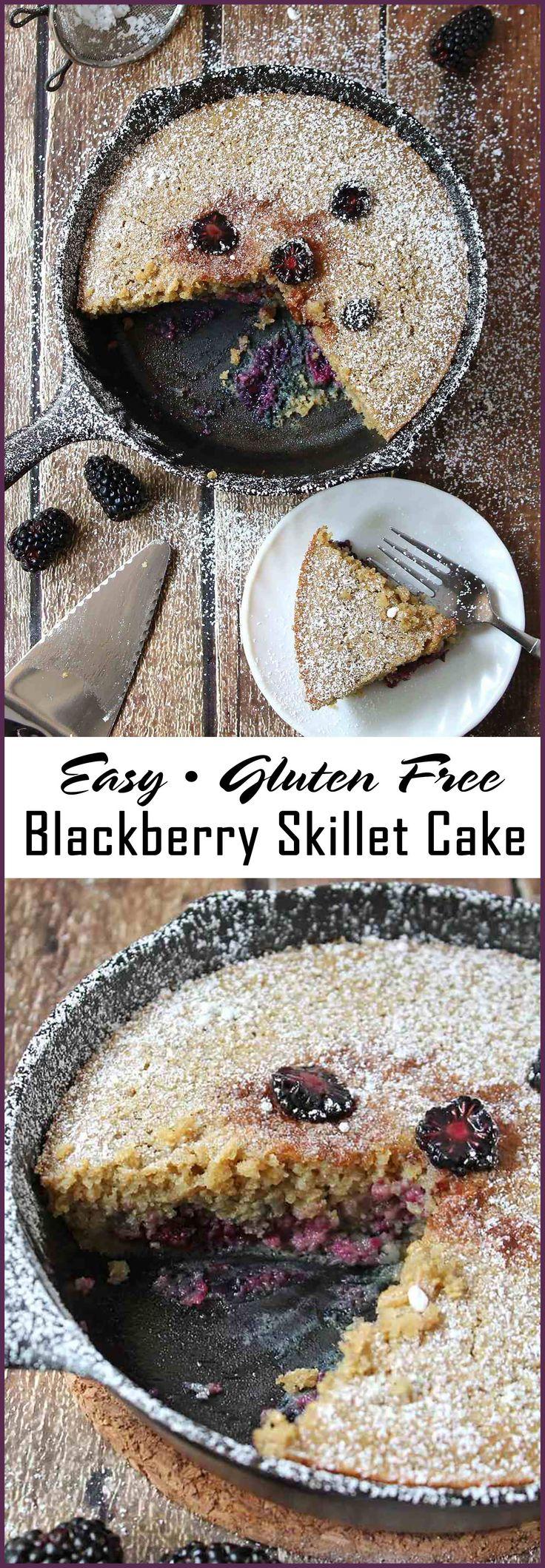 Easy Gluten Free Skillet Oatmeal Blackberry Cake