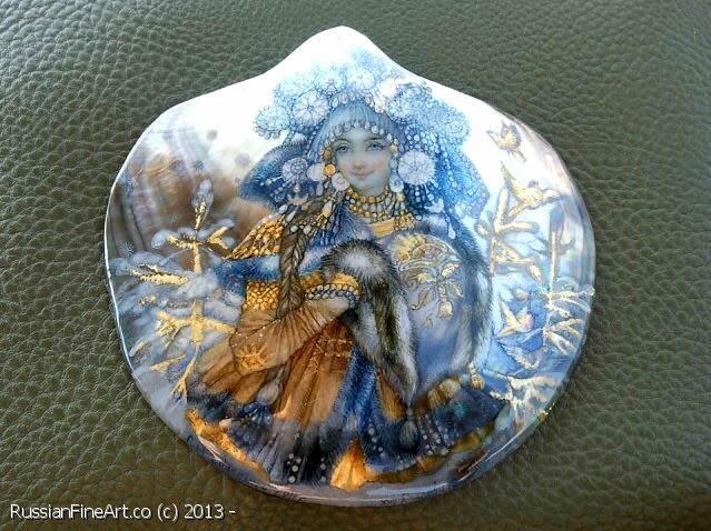 "ALNIKA ""Snow Maiden"" - pendant, Fedoskino lacquer painting technique. $1154.00"