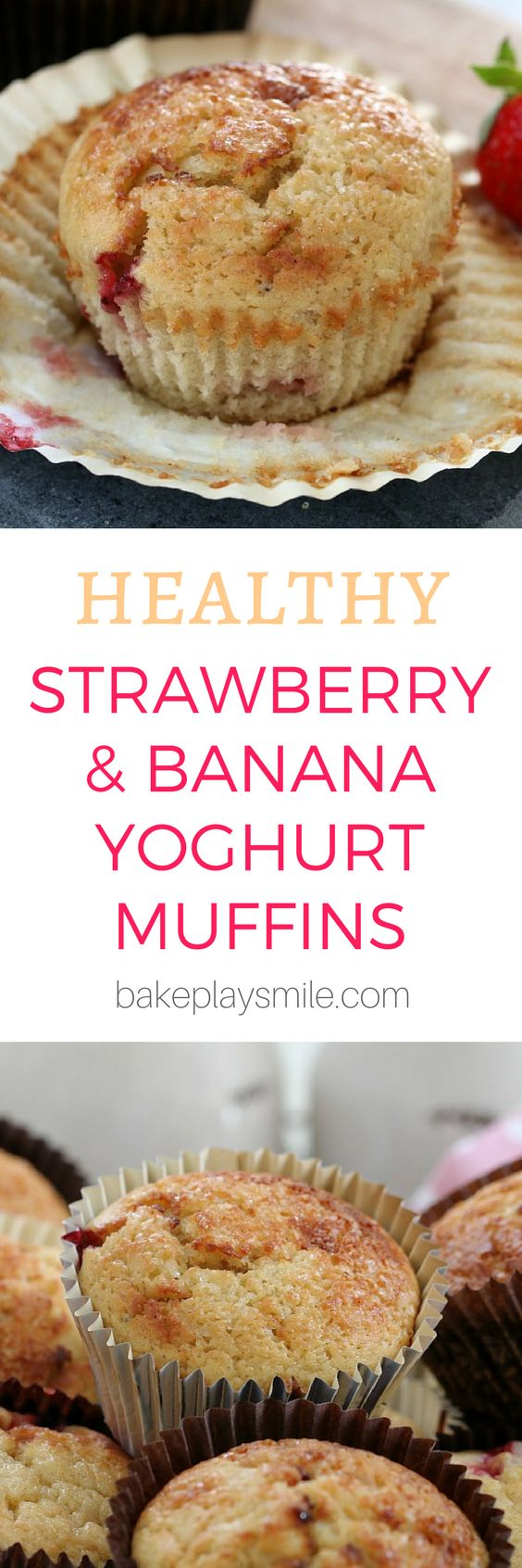 These delicious Strawberry, Banana & Yoghurt Muffins are the BEST!!! They're packed full of bananas and strawberries…. making them seriously YUM!! #banana #strawberry #fruit #yoghurt #yogurt #muffins #thermomix #conventional #healthy #recipe #best #easy #kids