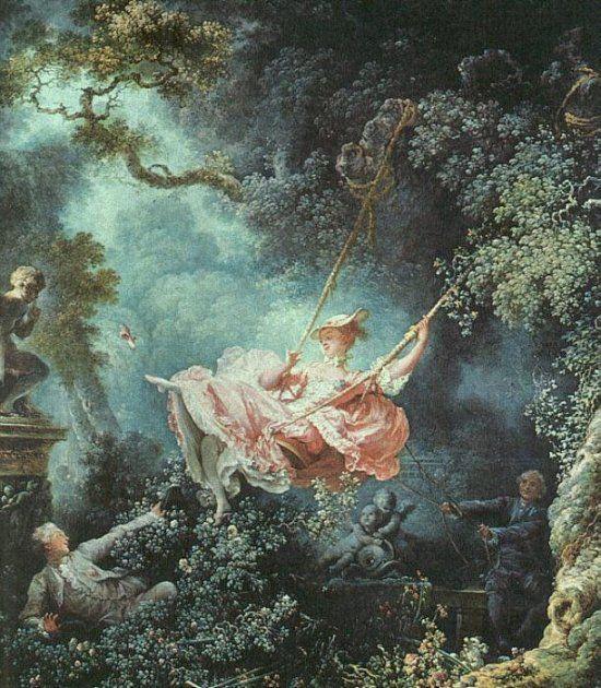 Titel: De schommel Kunstenaar: Jean Honoré Fragonard Datum: 1776 Materiaal: Olieverf op doek Museum: Wallace Collection, Londen Stroming: Rococo