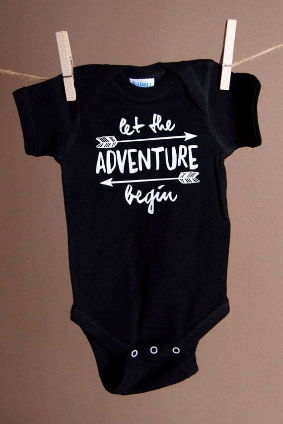 Let the adventure begin! This bodysuit is the perfect outfit for your little one. Its also great for a baby shower gift!  ___._._LET ME KNOW_._.___  I am happy to make any custom bodysuit and will gladly change colors or add your childs name for no additional cost. ___._._PRODUCTION & SHIPPING_._.___  All orders ship within 3-5 business days via USPS First Class Mail and should arrive within an additional 2-5 business days. All orders come with a tracking number.