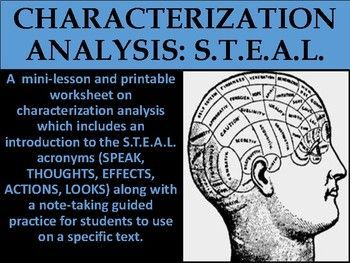 A  mini-lesson and printable worksheet on characterization analysis which includes an introduction to the S.T.E.A.L. acronyms (SPEAK, THOUGHTS, EFFECTS, ACTIONS, LOOKS) along with a note-taking guided practice for students to use on a specific text.