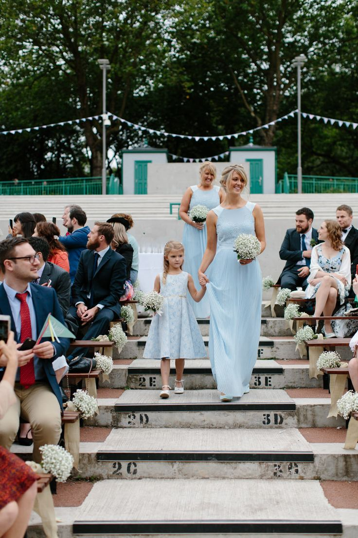 The 25 best bridesmaid dresses glasgow ideas on pinterest lace charlotte balbier elodie gown for an outdoor ceremony at kelvingrove bandstand in glasgow with pale blue bridesmaid dresses bright flower crown ombrellifo Images