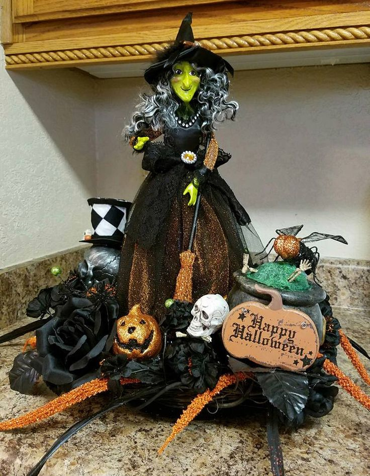 happy halloween centerpiece witch centerpiece skull centerpiece halloween decor witch decor - Etsy Halloween Decorations