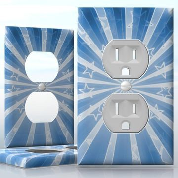 DIY Do It Yourself Home Decor - Easy to apply wall plate wraps   Las Vegas Stars Retro white stars on blue background wallplate skin sticker for 1 Gang Wall Socket Duplex Receptacle   On SALE now only $3.95