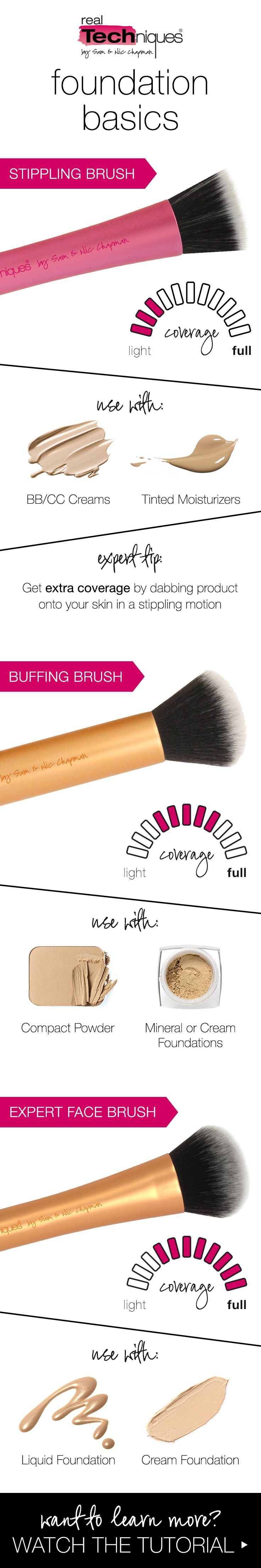 Pinterest: Jocy ♡ Deason - real techniques foundation brush overview - stippling, buffing & expert face brush tips