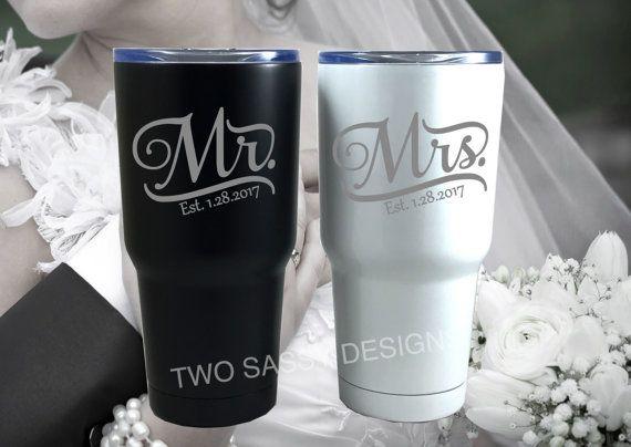 Laser Engraved Wedding Tumblers Mr & Mrs Wedding Tumblers