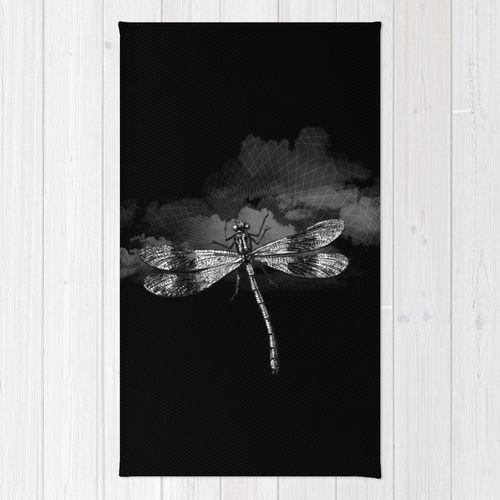 DRAGONFLY II Rug by Pia Schneider [atelier COLOUR-VISION] #art #dragonfly #libelle #kunst #teppich #rug #throwrug #carpet #roofdecor #home #decor #coolstuff #gift #geschenkidee #black #schwarz #goth #animals #tiere #designerteppich