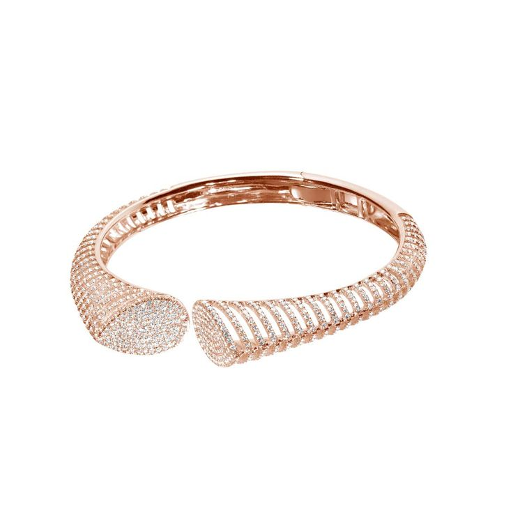 Diamond & 18K Rose Gold Cuff  AS29's Spine collection is so-called because of its iconic stylization of a spine. Capturing the essential iconography of the spine through a brilliant reduction of its lines to its defining lineaments, each diamond micropavé semi-circular cuff bracelet represents a vertebrae, as much as a building block of style.  Diamond Total Weight: 3.70 carats