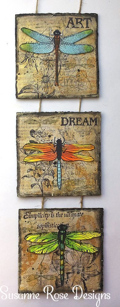 Hi my dear crafty Friends. Susanne writing today and I'd like to share this mixed media dragonfly wall hanger. I used simple old card board as my base. Scroll down to see some close-ups and a…