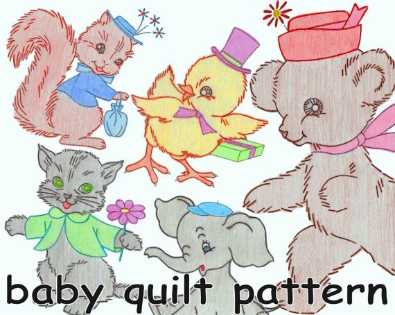 Baby Quilt Pattern Baby Animals Nursery Quilt Vintage Embroidered Quilt MAIL ORDER 7398 *PDF Download Crib Quilt Crib Cover Baby Shower Gift:  Here is a vintage mail order pattern to make an adorable embroidered crib cover featuring cute baby animals with hats and accessories. There are nine quilt blocks including a bear, a bunny, a cat, a dog, an elephant, a duck, a chick, a lamb and a squirrel. Each finished quilt block is 8 1/2 x 11 (the size of standard printer paper). Finished cover...