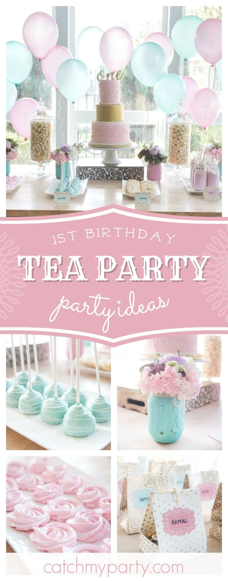 Don't miss this gorgeous pastel vintage 1st birthday tea party! The sweets are adorable!! See more party ideas and share yours at CatchMyParty.com #1stbirthday #teaparty