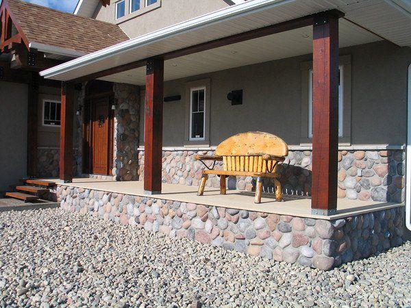 Porch column for River rock columns