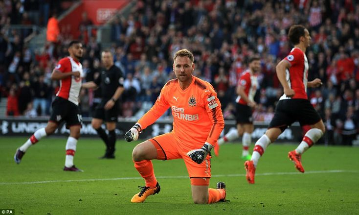 Rob Elliot looks dejected after Gabbiadini netted from the penalty spot with just 15 minutes of normal time remaining