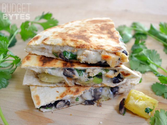 Chicken & Pineapple Quesadillas - Budget Bytes