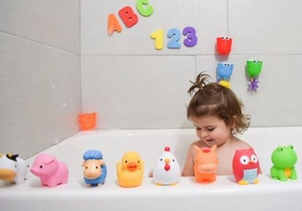 Bath time, as it should be! Fun, safe and happy! Our favorite Munchkin products are back in stock! #bathtoys
