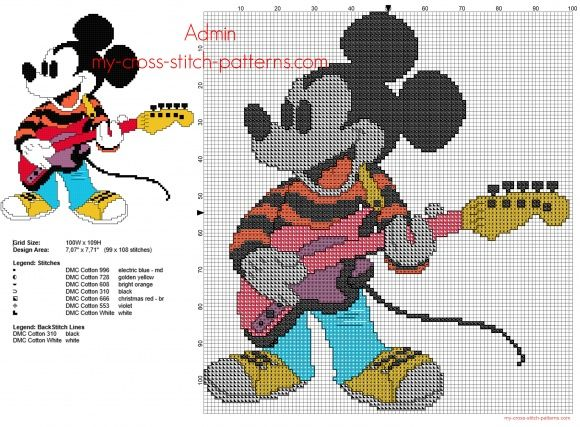 Mickey Mouse playing the guitar small back stitch free cross stitch pattern