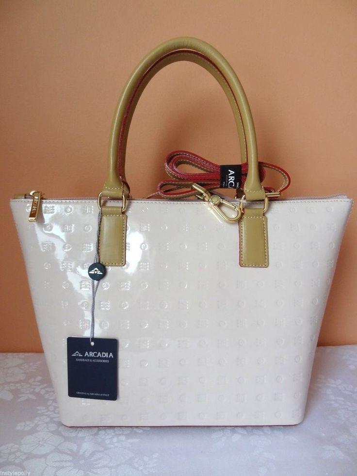 Arcadia Purse Handbag Tote Patent Genuine Italian Leather Light Pink Natural NWT #Arcadia #Satchel