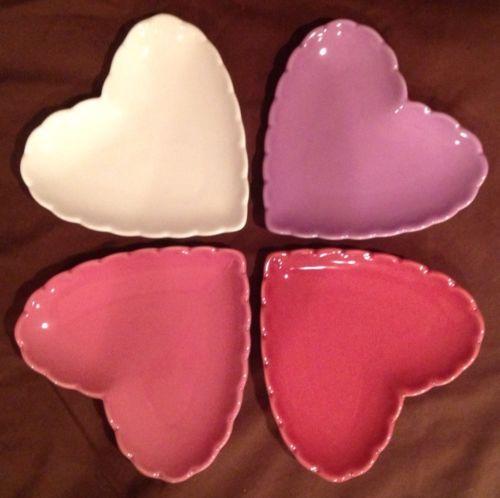 Williams Sonoma Scalloped Heart Shaped Dessert Plates w Box for Valentines | eBay