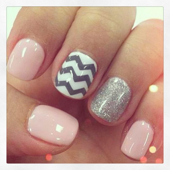 chevron, pink and silver nails. cute and different, and you could do these with any color replacing the pink. Love love love.