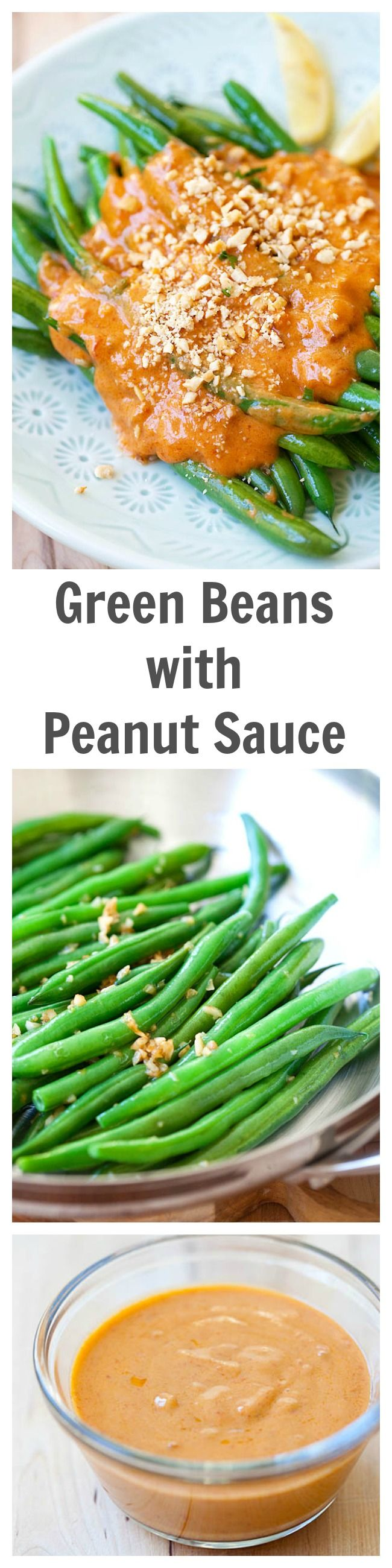 Green Beans with Peanut Sauce - Saute green beans with garlic and top them with spicy and savory Thai peanut sauce. Easy, healthy and delicious recipe!