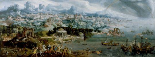 MARTIN VAN HEEMSKERCK    PANORAMA CON EL SECUESTRO DE HELENA EN MEDIO DE LAS MARAVILLAS DEL MUNDO ANTIGUO    1535 – Óleo sobre lienzo (147,3 x 383,5)