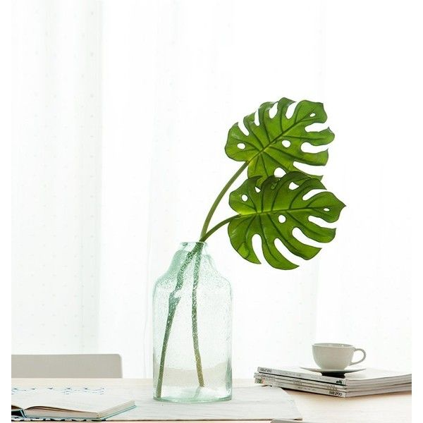 HNXZL 2 Pcs Artificial Monstera Plant Tropical palm Leaf Fake Flowers... ($17) ❤ liked on Polyvore featuring home, home decor, floral decor, faux florals, fake bouquet, artificial silk flowers, tropical home decor and tropical artificial flowers