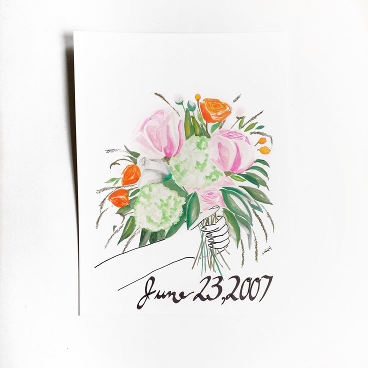 A unique and modern alternative to preserving your bridal bouquet:  a hand painted version of your beautiful bundle! Visit link to get your very own!! Wedding date optional.